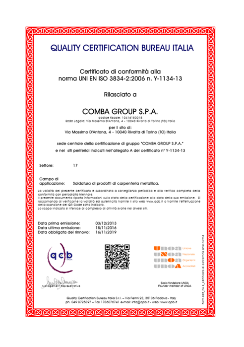 Quality certification Bureau Italia